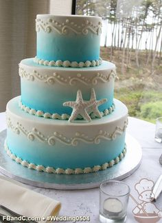 "Design W 0504 | Butter Cream Wedding Cake | 12""+9""+6"" | Serves 100 | Ombre ocean  spray, fondant startfish | Custom Quote"