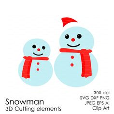 Christmas Snowman SVG 300 dpi svg, dxf, jpg, ai, eps, png Clip Art 3D Cutting elements Xmas Noel Die Cut Silhouette Cameo EasyCutPrintPD