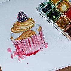 Mampf, wer möchte auch ein Cupcacke? Zum Glück ist es nur ausAquarell und nicht essbar 😀. #cupcacke #watercolors #watercolorsketch #sketchoftheday #drawingoftheday #foodillustration #drawingmania #lovesweets #creamy #zeicgnen #sketchbook #skizzen