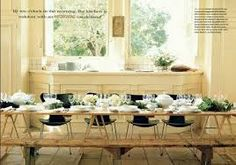 Image result for harvest table with modern chairs