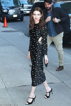 Up in smoke! Emma Roberts sucks back on cigarette in designer dress #dailymail