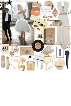 Musical moments mood board with a bit of glitz and glamor