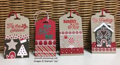 Stampin Up Candy Cane Lane tags, Oh, What Fun and Greetings from Santa stamp sets, Candy Cane Lane DSP, washi tape, Emerald Envy and Read Red Glitter stamping emboss powder