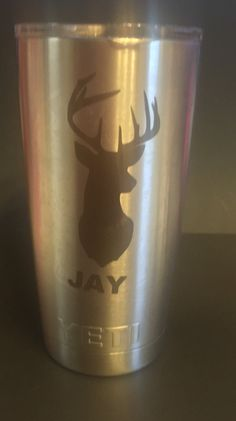 Deer Head Personalized Yeti Tumbler  Name, Monogram or Initials by LeslisDesigns on Etsy