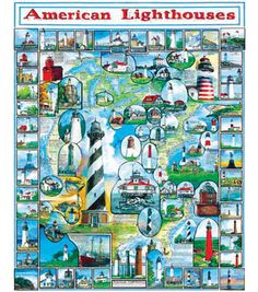 White Mountain Puzzles Jigsaw Puzzle American Lighthouses