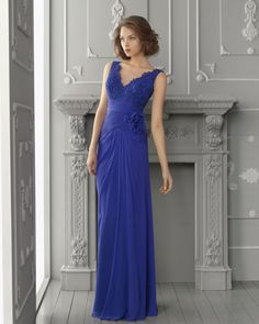 Aire Barcelona Cocktail Dress 2013-royal blue sexy v neck l lace top