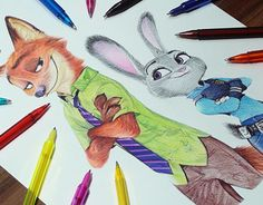 """Check out new work on my @Behance portfolio: """"Nick Wilde & Judy Hopps ballpoint Pen drawing"""" http://be.net/gallery/35223413/Nick-Wilde-Judy-Hopps-ballpoint-Pen-drawing"""