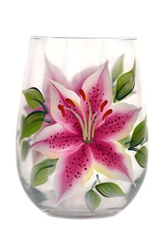 Stargazer lilies with deep pink with white edged petals, deep burgandy speckling and deep green leaves hand-painted encircling a quality 17 oz stemless wine gla