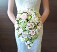 Bespoke Vintage Pastel pink and Green rose and peony teardrop wedding bridal bouquet country style