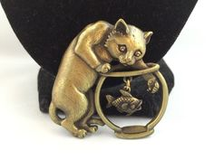 Vtg JJ Jonette Antique Gold Tone Kitty Cat Articulated Fish Brooch   eBay