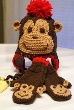 Cheeki Monkee Hat and Mitten Set by CheekeemonkeeStore on Etsy Winter Gear, Winter Hats, Monkey Hat, Mittens, Teddy Bear, Gift Sets, Knitting, Toys, Children