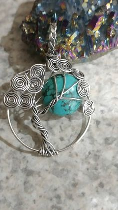 Wire Wrapped Turquoise Tree of Life Pendant Necklace by KarinsForgottenTreas on Etsy