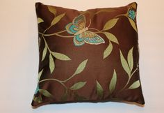 Urban Chic 16x16 Brown Green Butterfly Ladybug Pillow by DecorTreasures on Etsy