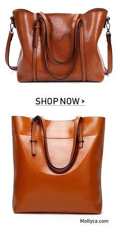 Buy 2 Got 5% OFF Code  mollyca Women Oil Leather Tote Handbags Casual Front 69fe0aa9cf