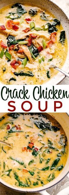 Creamy Crack Chicken Soup - Super creamy chicken soup loaded with incredible cheesy flavor! The perfect winter comfort food prepared with bacon, chicken, cheese, spinach, and ranch seasoning. Low carb and Keto approved, too! #lowcarbrecipes #keto #crackchicken #soup Keto Recipes, Cooking Recipes, Healthy Recipes, Kraft Recipes, Health Soup Recipes, Creamy Soup Recipes, Low Carb Chicken Recipes, Dishes Recipes, Healthy Soup