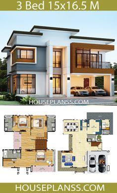 Modern House Floor Plans House Design Idea 5 with 3 Bedrooms House Plans Modern House Floor Plans, 3d House Plans, House Plans Mansion, Model House Plan, House Layout Plans, Dream House Plans, House Layouts, Two Story House Design, Duplex House Design