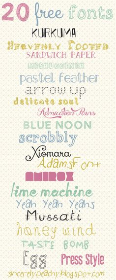 #Craft #Free #Fonts - 20 lovely Free Fonts from #Peachy