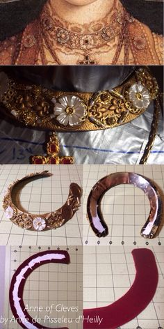 WIP 1539 Anne of Cleves Cranch collar recreated by Anne de Pisseleu d'Heilly German Tudor Renaissance gold leather paint, rub-n-buff, leather, metal choker as supportive base, red velvet lining