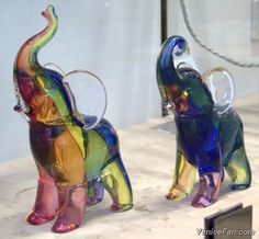 Murano glass elephants