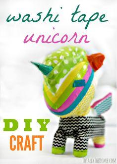 I ove this little diy washi tape unicorn craft!
