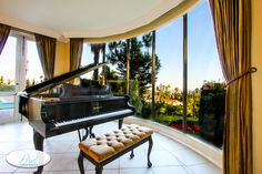 The Grand Piano at our Hollywood Hills French Chateau