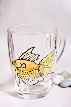 Hand painted mug with Goldfish. Stained-glass by zmeyssHandMade