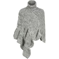Gray Roll Neck Ruffle Trim Asymmetric Knitted Poncho ($28) ❤ liked on Polyvore featuring outerwear, style poncho and grey poncho