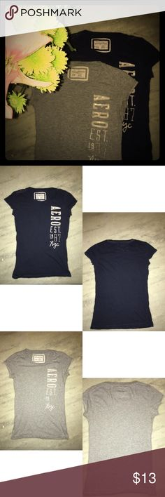 ❗️SALE❗️Aeropostale T-Shirt Bundle Aeropostale t-shirt bundle. Bundle comes with two Aeropostale t-shirts both size medium. One shirt is blue and the other is gray. They both have the same design, the word Aero going down the left hand side in white sequined letters with est. 1987 and nyc under it. Shirts are made from 100% cotton and are in good condition. Aeropostale Tops Tees - Short Sleeve