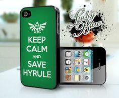 Zelda iPhone 4 4s Hard Case - Legend of Zelda Link Keep Calm Save Hyrule  - Phone Cover IP4. $16.88, via Etsy.