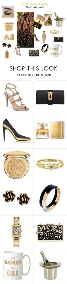 """Black&gold"" by testedonlyonhumans on Polyvore featuring Valentino, Hermès, Balmain, Givenchy, Christian Dior, Murphy, Jennifer Meyer Jewelry, Chantecler, Marni and Karl Lagerfeld"