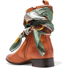 Maison Margiela Satin twill-trimmed burnished leather ankle boots ($860) ❤ liked on Polyvore featuring shoes, boots, ankle booties, mid heel booties, leather ankle boots, stacked heel bootie, short leather boots and real leather boots