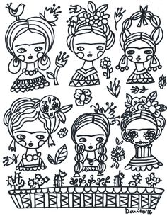A Frida Kahlo inspired coloring book page, created by international mixed media artist and doll maker Danita Art Coloring Book Pages, Coloring Sheets, Mug Noel, Frida Art, Thinking Day, Gustav Klimt, Doll Maker, Keith Haring, Mixed Media Artists