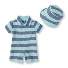 Newborn Baby Boys Short Sleeve Striped Romper And Bucket Hat Set - Blue - The Children's Place