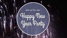 Purple circular text background 'Happy new year party' with fireworks background video template