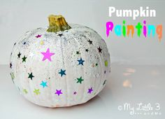Have fun Pumpkin Painting this Halloween. The perfect safe and easy alternative to pumpkin carving for children. From My Little 3 and Me