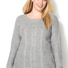 Marled Cableknit Pullover Sweater-Plus Size Sweater-Avenue
