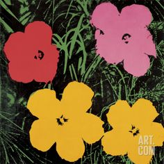Flowers, 1964 (Red, Pink and Yellow) Art Print By Andy Warhol