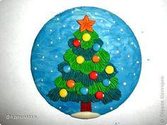 Картина панно рисунок Мастер-класс Новый год Аппликация из пластилина + обратная Лепка Ёлочка 2 варианта Пластилин фото 9
