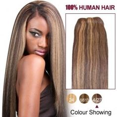 """10"""" Brown/Blonde(#4/27) Straight Indian Remy Hair Wefts 566"""