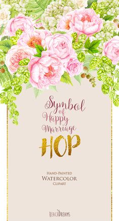 Wedding Watercolor Bouquets Hop Peonies flowers by ReachDreams