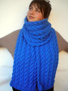 Marion cableados bufanda fornida mano bufanda tejido acrílico suave mujeres/hombres azul bufanda nuevo