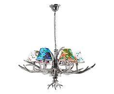Lampadario in acciaio e alluminio con 6 luci Antler Flowers, 75x66x75 cm