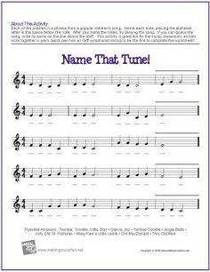 Learn Music Theory with our Free Printable Name That Tune Treble Clef Note Name Worksheet. Music Lessons For Kids, Music Lesson Plans, Music For Kids, Music Activities For Kids, Tune Music, Recorder Music, Recorder Karate, Middle School Choir, General Music Classroom