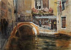 Sergiy Lysyy Venice Venice, Watercolor, Painting, Boats, Watercolor Painting, Paintings, Artists, Pen And Wash, Venice Italy