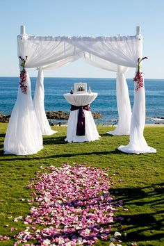 A beach view setup we did for Pia & Reggie's destination wedding at luxury residential community Cabo del Sol, Cabo San Lucas. #wedding #ceremony #setup #beachwedding