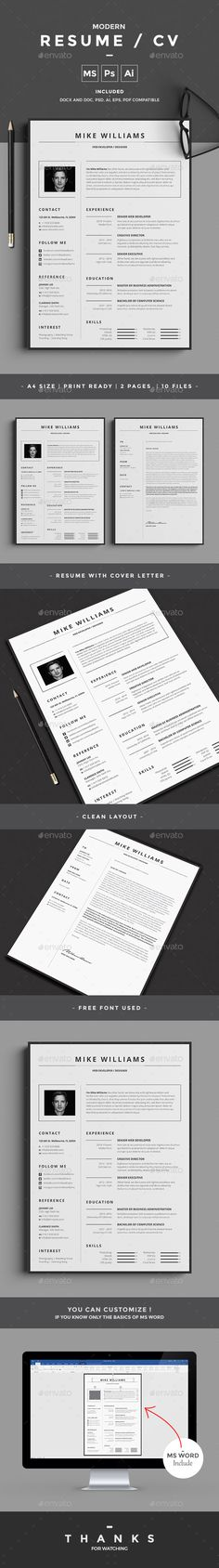 Love this simple, clean resume design! For more resume design inspirations click here: www.pinterest.com/sheppardaaron/-design-resumes/ Creative Resume Design, Resume Style, Resume Design, Curriculum Vitae, CV, Resume Template, Resumes, Resume Format ... #resume #resumedesign #creative #custom #cv #coverletter #design