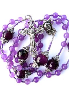 Aventurine and Agate Rosary, Aventurine Rosary, Purple Rosary, Immaculate Heart, Pewter, Catholic Rosary, Christian, Jesus, Mary,. $26.00, via Etsy.