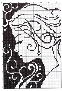 0 point de croix monochrome visage de femme - cross stitch lady's face