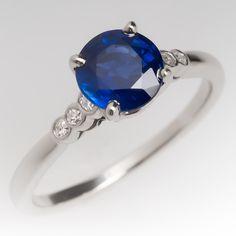 1.2+Carat+No+Heat+Dark+Blue+Sapphire+&+Diamond+Platinum+Ring