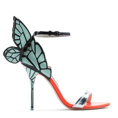 Sophia's signature 'Chiara' Butterfly style has been re-designed for this season in a silver, neon red and mint printed Butterfly Wing sandal. Finished with a silver mirror front strap. Sophia Webster Chiara, Sophia Webster Shoes, Shoes Heels Pumps, Stiletto Heels, All About Shoes, Childrens Shoes, Luxury Shoes, Dress Sandals, Fashion Shoes